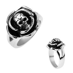 Patinovaný ocelový prsten, růže s lebkou uprostřed, rozdvojená ramena - Velikost: 66 obraz