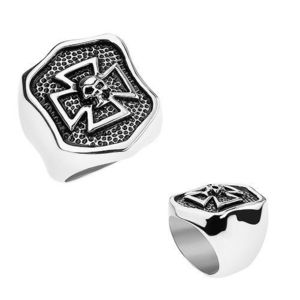 Prsten z oceli 316L, patinovaný erb s maltézským křížem a lebkou - Velikost: 59 obraz