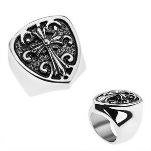 Patinovaný prsten z oceli 316L, erb s liliovým křížem, ornamenty - Velikost: 59 obraz