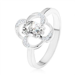 Prsten ze stříbra 925, blyštivý obrys květu s oválným zirkonem čiré barvy - Velikost: 47 obraz