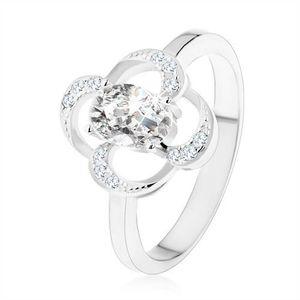 Prsten ze stříbra 925, blyštivý obrys květu s oválným zirkonem čiré barvy - Velikost: 52 obraz