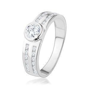 Zásnubní prsten ze stříbra 925, kulatý čirý zirkon, třpytivé linie - Velikost: 53 obraz
