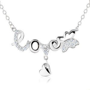 """Nastavitelný náhrdelník, nápis """"love"""", motýlek, visící srdíčko, stříbro 925 obraz"""