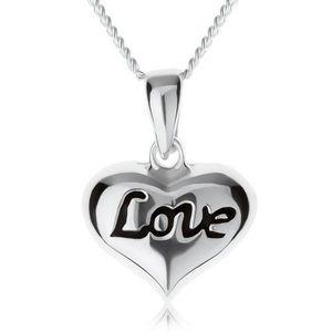 """Nastavitelný náhrdelník, srdíčko s nápisem """"Love"""", stříbro 925 obraz"""