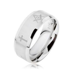 Prsten z oceli stříbrné barvy, matný proužek s kříži a symboly svobodných zednářů - Velikost: 59 obraz