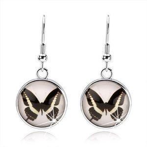 Kruhové kabošon náušnice, čiré vypouklé sklo, černobílý motýlek, afro háček obraz