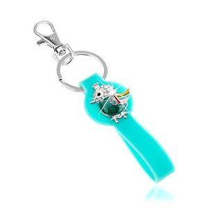Přívěsek na klíče, silikonová část v tyrkysové barvě, pestrobarevný ptáček obraz