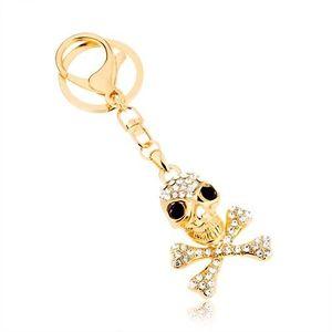 Přívěsek na klíče, zlatý odstín, lebka s překříženými kostmi, zirkony obraz