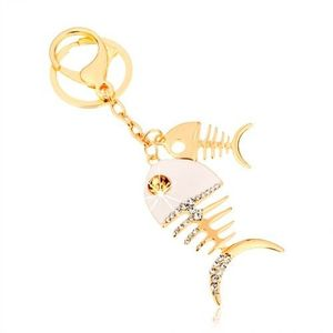 Přívěsek na klíče ve zlatém odstínu, dvě lesklé rybí kosti, bílá glazura, zirkony obraz