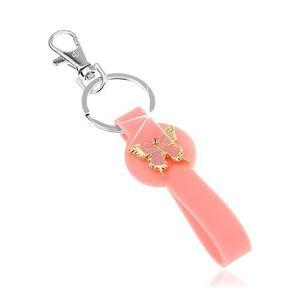 Klíčenka, růžový přívěsek ze silikonu, motýlek zlaté barvy, růžová glazura obraz