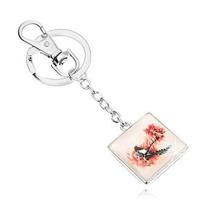 Přívěsek na klíče ve stylu kabošon, čtverec, vypouklé sklo, pták na stromě obraz