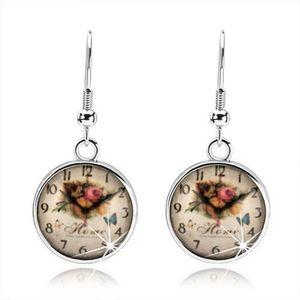 Náušnice, styl cabochon, glazura, obrázek hodinek, růže, anglický nápis obraz