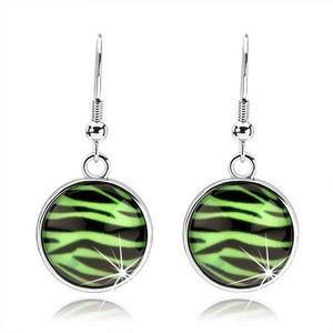 Kabošon náušnice s vypouklým sklem, vzor zebry v zelenočerné kombinaci obraz