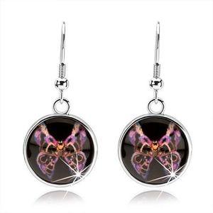 Náušnice s glazurou, motýl s fialovo-černými vzorovanými křídly, kabošon obraz