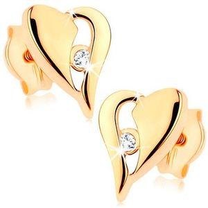 Zlaté náušnice 375 - nesouměrné srdce s výřezem a drobným zirkonkem obraz