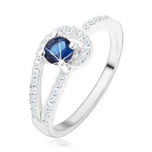Stříbrný prsten 925, třpytivé linie čiré barvy, kulatý modrý zirkon - Velikost: 56 obraz