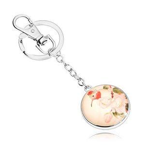 Přívěsek na klíče ve stylu cabochon, kruh s čirým vypouklým sklem, ptáček, květy obraz