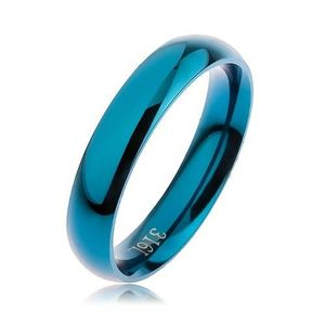 Prsten z oceli 316L modré barvy, hladký zaoblený povrch bez vzoru, 4 mm - Velikost: 55 obraz