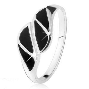 Stříbrný prsten 925, trojúhelníky z černého onyxu, vysoký lesk - Velikost: 57 obraz