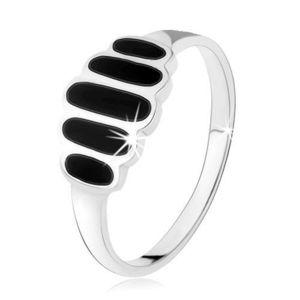 Stříbrný 925 prsten, černé onyxové ovály, hladká ramena, vysoký lesk - Velikost: 53 obraz