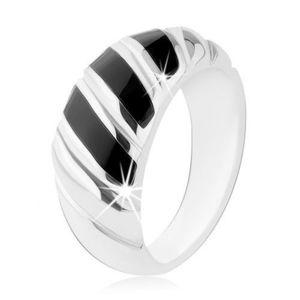 Prsten, stříbro 925, černý onyx, tři šikmé proužky, zářezy - Velikost: 52 obraz