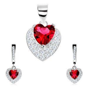 Set ze stříbra 925, náušnice, přívěsek, červené zirkonové srdce, čiré zirkonky obraz
