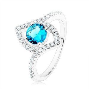Prsten, stříbro 925, jasně modrý zirkon - kruh, špičaté zrnko - kontura - Velikost: 59 obraz