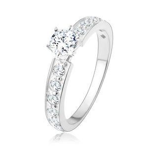 Třpytivý zásnubní prsten, stříbro 925, čiré zirkonové linie, kulatý zirkon - Velikost: 56 obraz