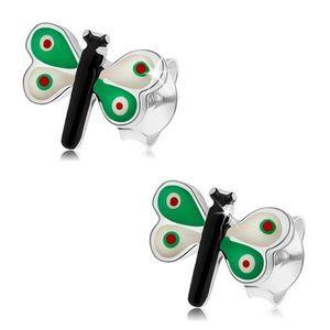 Stříbrné náušnice 925, motýlek s barevnou glazurou, zelenobílá křídla obraz