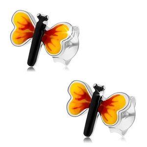 Stříbrné 925 náušnice, malý motýlek, žluto-červená křídla, puzetky obraz