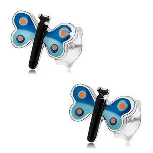 Puzetové náušnice, stříbro 925, glazovaný motýl s modrými křídly, puntíky obraz