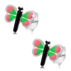 Náušnice ze stříbra 925, barevný motýl, růžovozelená křídla obraz