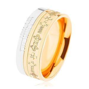 Dvoubarevný ocelový prsten - zlatý a stříbrný odstín, vzor - keltské kříže - Velikost: 59 obraz