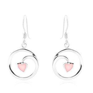 Náušnice, stříbro 925, kontura kruhu - spirála, srdíčko, růžová perleť obraz