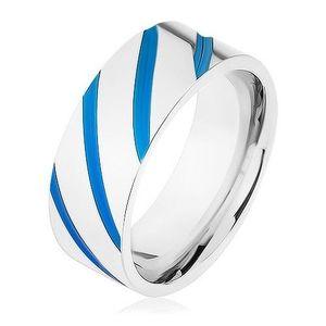 Ocelový prsten stříbrné barvy, diagonální pásy, modrá glazura - Velikost: 68 obraz