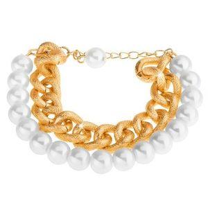 Náramek z korálků perleťově bílé barvy a masivního řetízku ve zlatém odstínu obraz