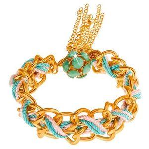 Náramek, dvojitý řetízek, modrá a růžová šňůrka, korálky zelené barvy obraz
