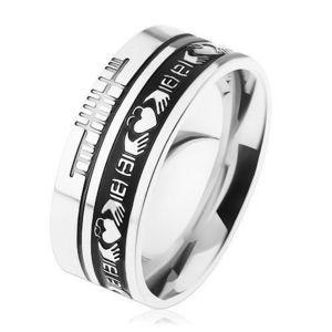 Prsten z oceli 316L, stříbrná barva, černý pruh, ornamenty, 8 mm - Velikost: 64 obraz