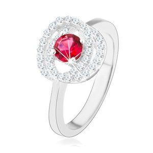 Stříbrný prsten 925, lesklá ramena, dvojitý lem, tmavě růžový zirkon - Velikost: 57 obraz
