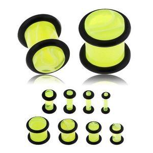 Plug do ucha z akrylu, neonově žlutá barva, mramorový vzor, černé gumičky - Tloušťka : 10 mm obraz