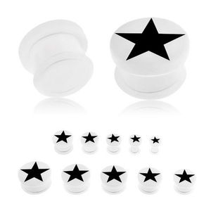 Akrylový plug bílé barvy do ucha, černá pěticípá hvězda, průhledná gumička - Tloušťka : 6 mm obraz