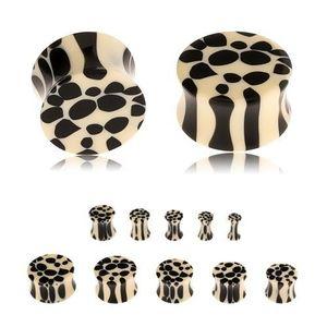 Akrylový sedlový plug do ucha, béžovočerný leopardí vzor - Tloušťka : 6 mm obraz