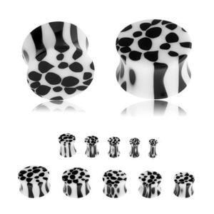 Sedlový plug do ucha z akrylu, černobílý leopardí vzor - Tloušťka : 6 mm obraz