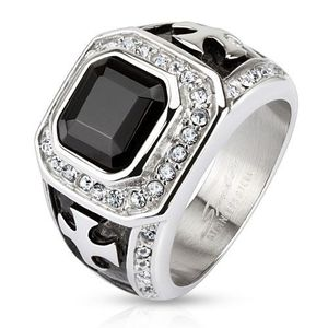 Mohutný prsten z chirurgické oceli, černý zirkonový čtverec, čiré linie, kříže - Velikost: 59 obraz