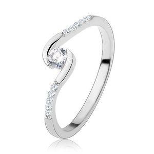 Zásnubní prsten, stříbro 925, úzká ramena, čirý kulatý zirkon - Velikost: 54 obraz