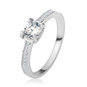 Stříbrný 925 prsten, lesklá ramena, kulatý broušený zirkon - Velikost: 57 obraz