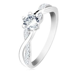 Stříbrný prsten 925, zvlněná propletená ramena, čirý zirkon - Velikost: 58 obraz