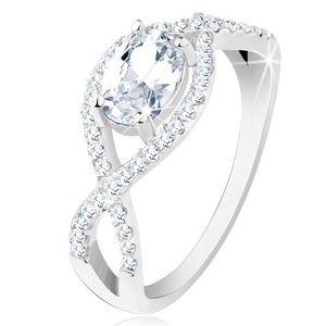 Stříbrný prsten 925, propletené zirkonové linie, oválný broušený zirkon - Velikost: 58 obraz
