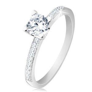 Zásnubní prsten, stříbro 925, plochá ramena, čirý kulatý zirkon - Velikost: 57 obraz
