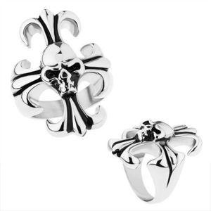 Masivní prsten z oceli 316L, stříbrná barva, liliový kříž s lebkou - Velikost: 59 obraz